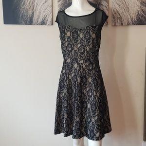 ENFOCUS💟Sheer Bustier Lace Fit & Flare Mini Dress